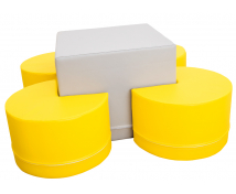 [Asztal és ülőkék - készlet - szürke / sárga]