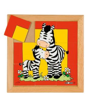 Állatkás puzzle - anyák és kölykeik - Zebra (9 dar