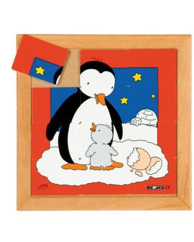 Állatkás puzzle - anyák és kölykeik - Pingvin (12