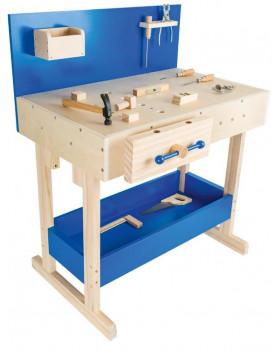 Masszív munkapad-kék,felszereltséggel
