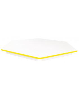Asztallap FEHÉR - hatszög 60- sárga